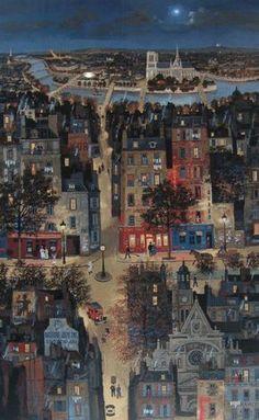 La Rue Saint Jacques, Paris by Michel Delacroix (French Architectural illustration Paris Kunst, Paris Art, Art Parisien, Illustrations, Illustration Art, Naive Art, City Art, Folk Art, Concept Art