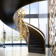 Edison's Tail composition in brass; a burst of energy! Discover the complete collection on our website. Staircase design by Green Shot, Staircase Design, Stairways, Modern Lighting, Modern Interior, Pendant Lighting, Composition, Bulb, Van