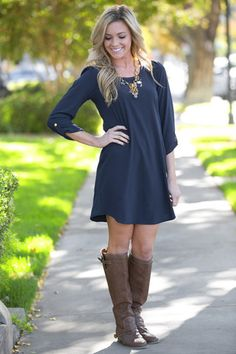 This dress is SO cute with boots and could be great with leggings, which is just what I'm looking for. I don't know for sure if I would like it on, but I would love to try it