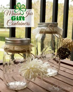 Mason Jar Gift Containers, super easy craft with step by step instructions. Will be great to give away with treats inside at my Holiday party! Tutorial from http://ThisSillyGirlsLife.com