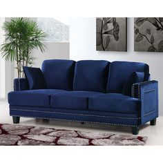 Shop for Ferrara Navy Velvet Nailhead Sofa. Get free shipping at Overstock.com - Your Online Furniture Outlet Store! Get 5% in rewards with Club O!