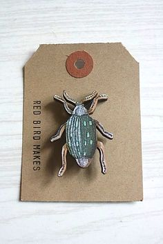 Illustrated beetle image on 1 8 thick lasercut plywood The image has been fixed and protected with a matt varnish A gold tone brooch back bar pin is