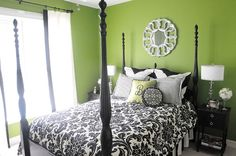 Green Apple Walls with Black and White Bedding and Accessories. Already have this on the walls Bedroom Green, Green Rooms, Dream Bedroom, Master Bedroom, Bedroom Decor, Bedroom Ideas, Green Walls, Mansion Bedroom, Big Girl Rooms