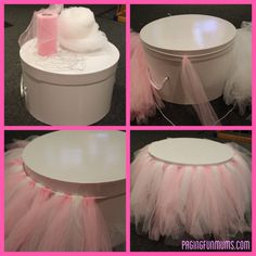 DIY Tulle Cake Stand. Uses a hat box, elastic and tulle.