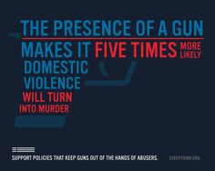 Everytown for Gun Safety is a movement of Americans fighting for common-sense reforms to reduce gun violence. The gun lobby likes to claim that protecting ourselves from gun violence is about keeping us safe from strangers in a dark alley, but the facts don't back that up. Women are twice as likely to be killed with a gun by a current or former male intimate partner than killed by a stranger using any method, combined.