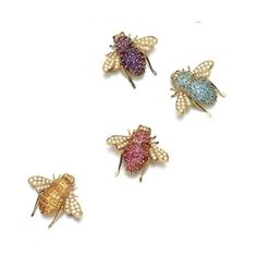 Each designed as a bee, the bodies respectively set with variously cut yellow sapphires, amethyst, tourmaline and blue topaz, further highlighted with brilliant-cut diamonds