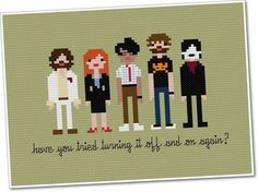 Pixel People The I.T. Crowd Cross-stitch. | Killer Kitsch