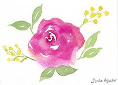 ACEO Original Rose Watercolor Painting,Pink rose,Small art,Rose painting,Rose art,Floral painting,Floral art,Original aceo,Miniature art