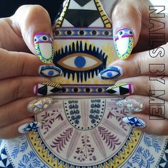 nailsbymei: Summer time〰〰〰〰 new nails inspired by @marahoffman...