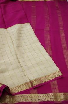 Details Mysore silk saree are world renowned saree. Karnataka, silk is mainly produced in the... Crepe Silk Sarees, Silk Crepe, Silk Fabric, Woven Fabric, Mysore Silk Saree, Karnataka, Off Colour, White Fabrics, Off White