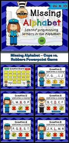 "Your students will enjoy playing this version of ""Cops and Robbers"". In this game, students can choose to be the cops or the robbers. They must correctly identify the missing letter in a set of letters. They are given 3 options to choose from and they simply click on the answer. A check will appear for correct answers and an ""x"" will appear for wrong answer. There are 20 questions and you just click on each question to go to it."