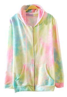 Rose Red Yellow Hooded Long Sleeve Rainbow Print Sweatshirt US$37.05