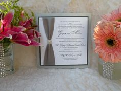 Rhinestone invitation See more custom-made invitations & favors at wrappedupindetails.com