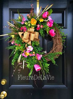 Spring wreath spring door wreath spring floral by FleursDeLaVie