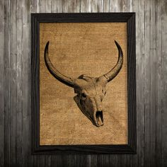 Bull skull print. Anatomy poster. Animal decor. Skull print.  PLEASE NOTE: this is not actual burlap, this is an art print, the image is printed on