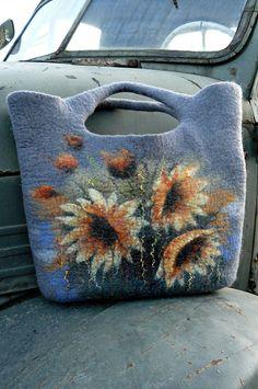 Ooak Handfelted  gray handbag with flowers.....