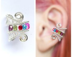 rainbow EAR CUFF with czech glass crystals,  silver wire original handmade cute vibrant and colorful