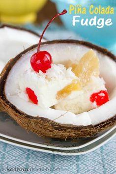 A sweet taste of the tropics- piña colada fudge! Coconut Recipes, Fudge Recipes, Best Dessert Recipes, Candy Recipes, Fun Desserts, Sweet Recipes, Delicious Desserts, Baking Recipes, Snack Recipes