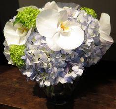 Classic white orchids, powder blue hydrangea, and green viburnum blossoms