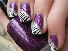 Pure Ice's Super Star   Milani Purple Gleam  Konad black with the zebra design  silver glitter striper