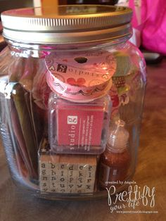 Craft Stuff in a Jar - GREAT birthday gift idea for the crafty person you know!!