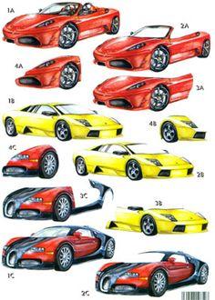 CUK786 Cars Die-Cut 3D Decoupage Sheets