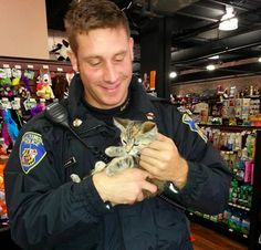 Boyer has a been a cop for about three and a half years, and though rescuing is not in his job description, he said most of his squad does it.   This Cat-Rescuing Cop Has Become An Internet Heartthrob