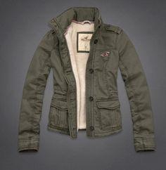 Army Green Hollister Abercrombie Cargo Military Parka Sherpa Jacket Coat L   eBay