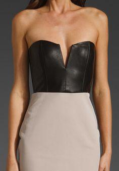 leather bustier dress black & nude