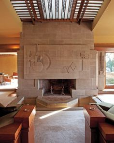 Fireplace in Hollyhock, a Frank Lloyd Wright house