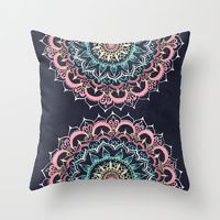 Throw Pillows featuring Pink, Cream & Soft Turquoise Glow Medallion on Navy by Tangerine-Tane