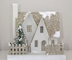 Called Putz or Mica houses. Good Sam Showcase of Miniatures: Dealer Debbie Young, Young at Heart - Quarter-scale Kits Christmas Village Houses, Putz Houses, Christmas Villages, Miniature Christmas, Noel Christmas, White Christmas, Childrens Workshop, Make A Gingerbread House, Holiday Crafts