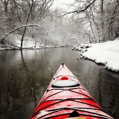 Took this picture while kayaking during a light snowfall last Tuesday. Des Plaines River - Illinois - Imgur
