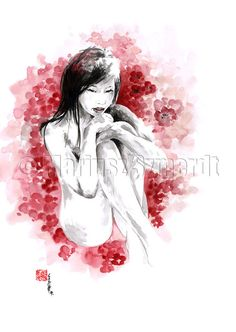 Pin up art erotic nudity cherry blossom painting pin by SamuraiArt, $30.00  #woman #erotic #fineartprint