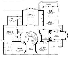 Georgian Style House Plans - 5699 Square Foot Home , 2 Story, 5 Bedroom and 4 Bath, 3 Garage Stalls by Monster House Plans - Plan 24-205