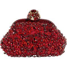 Dolce & Gabbana Miss Dea Embellished Clutch ($2,369) ❤ liked on Polyvore featuring bags, handbags, clutches, purses, bolsas, chain handle handbags, clasp handbag, clasp purse, dolce gabbana purses and red purse
