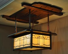 Arts & Crafts ~ Greene & Greene ~ Lamp for the Dining Room ~ David B. Gambler House, Pasadena ~ Wood and stained glass ~ ca. 1908