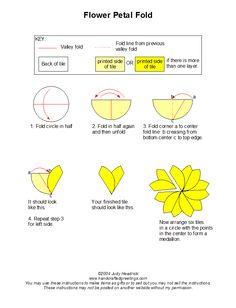 Flower Petal Fold - Tea bag folding instructions for making a floral motif using round tiles