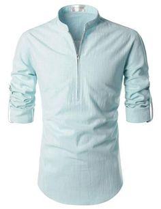 ee09439a65 Bangkok Zipper Roll-up Linen Shirt Casual Shirts For Men