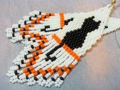 Halloween Black Cat Beaded Earrings on White --- Storewide BOGO 1\/2 OFF SALE --- #beadwork