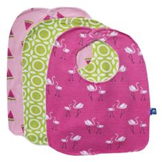 Girl Bib Set (Set of 3) in Watermelon, Meadow Flower Lattice, and Girl Flamingo Print