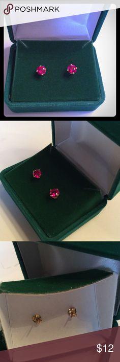 18 KT PLATED FAUX RUBY STUDS 18KT PLATED FAUX RUBY STUDS IN BOX.  NEW boutique Jewelry Earrings