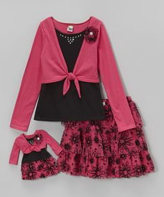 Love this Pink Floral Skirt Set & Doll Outfit - Toddler & Girls by Dollie & Me on #zulily! #zulilyfinds