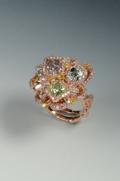 """GIA Fancy Pink 1.07 GIA fancy Green yellow 1.01 GIA Fancy green blue 0.90  Multi Color Ring.  A """"Rainbow Fine Collection"""" Masterpiece."""