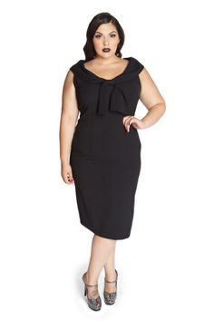 Domino Dollhouse - Plus Size Clothing: Bow Baby Pencil Dress in Black design by Amber Middaugh