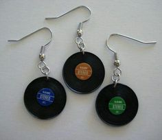 Your place to buy and sell all things handmade - Vinyl Record Earrings, Album Jewelry, Music Jewelry, Music Teacher Gift - Weird Jewelry, Music Jewelry, Funky Jewelry, Cute Jewelry, Jewelry Accessories, Emo Jewelry, Jewelry Crafts, Funky Earrings, Diy Earrings