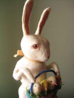 A Large Spun Cotton Rabbit Gentleman with basket by MRCROWSGARDEN