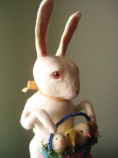 A Large Spun Cotton Rabbit Gentleman with basket by MRCROWSGARDEN,