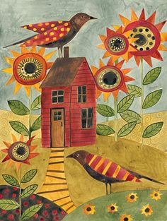 sunflowers, a house, and birds :-)