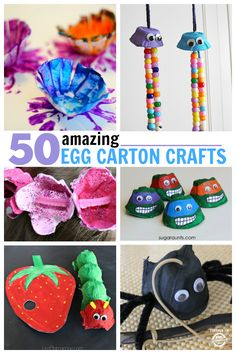 50 AMAZING EGG CARTON CRAFTS is part of Recycled crafts For School - We love making recycled crafts and one of our favorites are egg carton crafts Craft Activities For Kids, Preschool Crafts, Fun Crafts, Arts And Crafts, Amazing Crafts, Preschool Ideas, Crafts For Kids To Make, Projects For Kids, Craft Projects